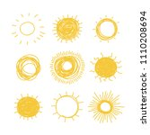 hand drawn illustration sun.... | Shutterstock .eps vector #1110208694