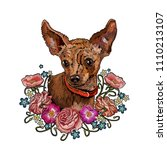 classical embroidery  dog and...   Shutterstock .eps vector #1110213107