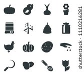 Black Vector Icon Set Sowing...
