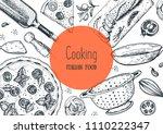 italian cuisine hand drawn... | Shutterstock .eps vector #1110222347