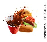 coffee and burger dynamic... | Shutterstock .eps vector #1110231047