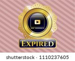 gold badge or emblem with... | Shutterstock .eps vector #1110237605