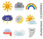 cartoon characters weather... | Shutterstock .eps vector #1110244061