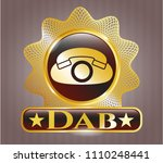 gold badge with phone icon... | Shutterstock .eps vector #1110248441