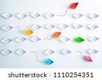 group of paper ships in one... | Shutterstock . vector #1110254351