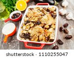 chicken thigh baked with rice ... | Shutterstock . vector #1110255047