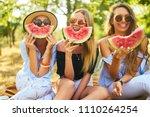 three nice girls having fun... | Shutterstock . vector #1110264254