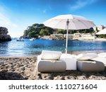white elegant sunbeds for...   Shutterstock . vector #1110271604