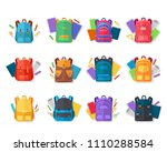 colorful school backpacks icons ... | Shutterstock .eps vector #1110288584