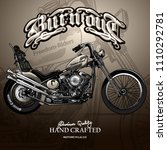 vintage chopper motorcycle...   Shutterstock .eps vector #1110292781