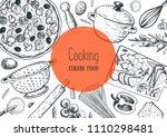 italian cuisine hand drawn...   Shutterstock .eps vector #1110298481