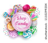 candy shop background with... | Shutterstock .eps vector #1110299204