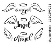 doodle flying angel wings with... | Shutterstock .eps vector #1110299231