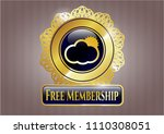 gold shiny badge with sun... | Shutterstock .eps vector #1110308051