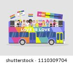 lgbtq parade. homosexuality.... | Shutterstock .eps vector #1110309704