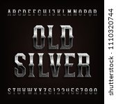 old silver alphabet font.... | Shutterstock .eps vector #1110320744
