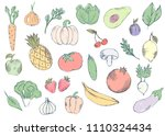 farm vegetables vector poster.... | Shutterstock .eps vector #1110324434
