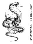 skull with a snake. drawing by ... | Shutterstock .eps vector #1110332504