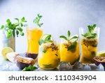 passion fruit lemonade... | Shutterstock . vector #1110343904