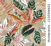 tropical exotic leaves seamless ... | Shutterstock .eps vector #1110346631