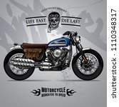 vintage scrambler motorcycle...   Shutterstock .eps vector #1110348317
