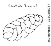 zopf or challah bread. jewish... | Shutterstock .eps vector #1110358757