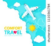 traveling by plane. airplane in ... | Shutterstock .eps vector #1110361784