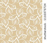 seamless leaves lace pattern on ... | Shutterstock .eps vector #1110373724