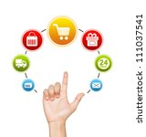hand with e commerce icon... | Shutterstock . vector #111037541