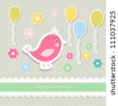 retro cute art sweet kid pink... | Shutterstock .eps vector #111037925
