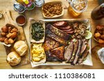 texas style bbq meal with all... | Shutterstock . vector #1110386081