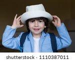 beautiful little brunet hair... | Shutterstock . vector #1110387011
