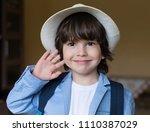 beautiful little brunet hair... | Shutterstock . vector #1110387029