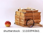 a stack of old vintage books | Shutterstock . vector #1110394361