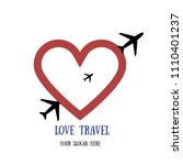 love travel. airplane in the... | Shutterstock .eps vector #1110401237