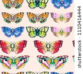 butterfly watercolor... | Shutterstock . vector #1110416444