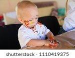 beautiful little blonde boy ... | Shutterstock . vector #1110419375