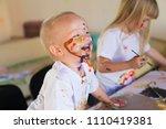 beautiful little blonde boy ... | Shutterstock . vector #1110419381