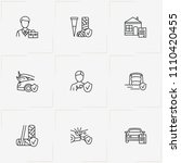insurance line icon set with...   Shutterstock .eps vector #1110420455