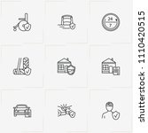 insurance line icon set with...   Shutterstock .eps vector #1110420515