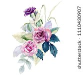 watercolor bouquet of roses on... | Shutterstock . vector #1110430907