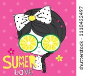 cute girl with lemon sunglasses ... | Shutterstock .eps vector #1110432497