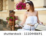 pretty young girl in a white... | Shutterstock . vector #1110448691