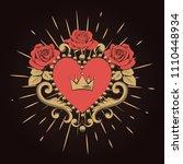 beautiful ornamental red heart... | Shutterstock .eps vector #1110448934