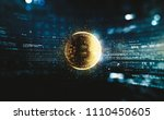 bitcoin with glowing lights. ... | Shutterstock . vector #1110450605