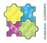 puzzle pieces design | Shutterstock .eps vector #1110450941
