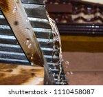 fresh raindrops flow from the... | Shutterstock . vector #1110458087