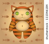 the cute cartoon red cat on... | Shutterstock .eps vector #111046184