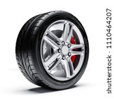 3d car tires and alloy wheel on ... | Shutterstock . vector #1110464207