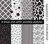 set of 8 black and white vector ... | Shutterstock .eps vector #1110469094